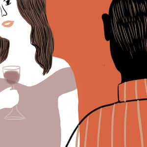 illustration of a woman holding a glass of wine and a man, Prufrock, standing opposite her