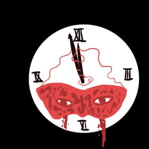 illustration of a clockface wearing a mask and ticking closer to midnight