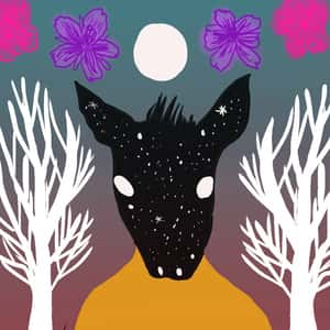 Illustration of a donkey-headed musician in between two white trees