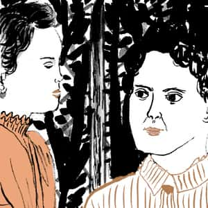 Illustration of Helen Keller and her teacher, Annie Sullivan