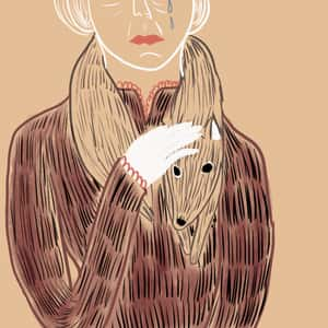 illustration of Miss Brill crying and standing with her hand lightly resting on a fur around her neck