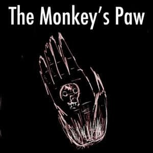 illustration of an open-faced monkey's paw with a skull design on the palm