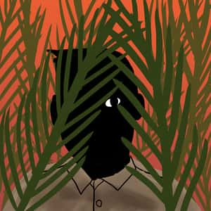 silhouette of a man with one eye open hiding in the jungle