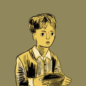 illustration of Oliver Twist standing and holding his wooden porridge bowl