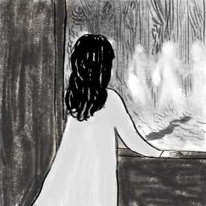illustration of a young girl looking out a window at ghostly figures