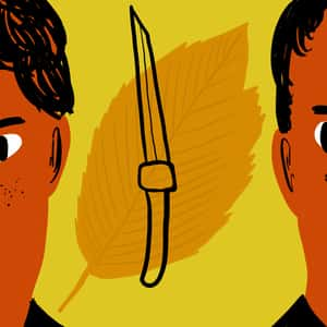Illustration of a knife and a leaf between two boys