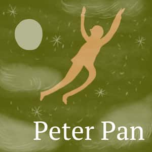 Illustration of Peter Pan flying in a starry sky with clouds and the moon