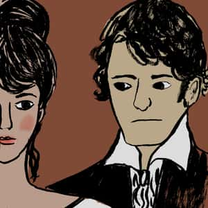 Illustration of Elizabeth Bennet and Fitzwilliam Darcy with neutral expressions on their faces
