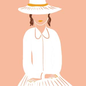 Illustration of Eliza Doolittle dressed up to hang with the social elite