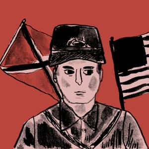 Illustration of Henry Fleming in a soldier's uniform in front of a confederate flag and an American flag