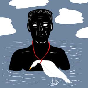 illustration of the Ancient Mariner in the ocean with an albatross tied around his neck