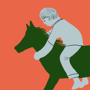 drawing of a young boy riding a rocking-horse