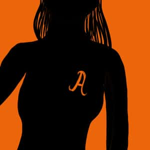 "Illustration of the silhouetted image of Hester Prynne with a letter ""A"" on her clothes"