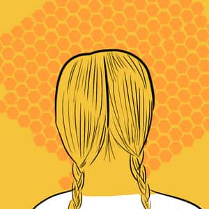 illustration of the back of main character Lily Owens's head with a honeycomb background