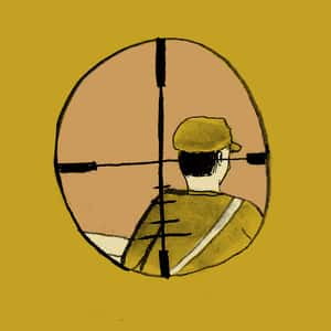illustration of a soldier visible through the sniper scope crosshairs of a rifle