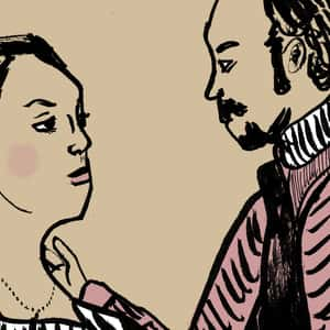 illustration of Kate and Petruchio standing and staring at one another
