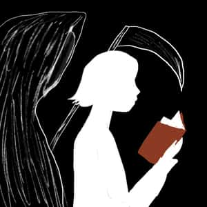young girl reading a book with the grim reaper reading the same book over her shoulder
