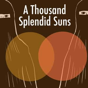 illustration of two women standing in burkas with two overlapping circles between them and the title A Thousand Splendid Suns written above them