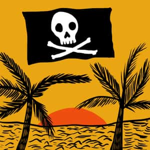 illustration of a Caribbean island with the jolly roger pirate flag flying in the sky