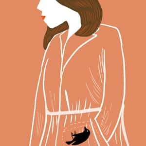 Illustration of a woman in a robe with a dead canary
