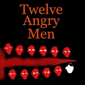 abstract illustration of twelve angry looking human faces