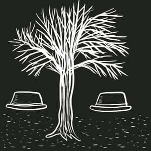 Abstract illustration of two hats under a leafless tree in black and white