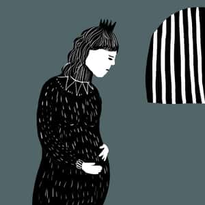 illustration of a pregnant Hermione standing in a jail cell