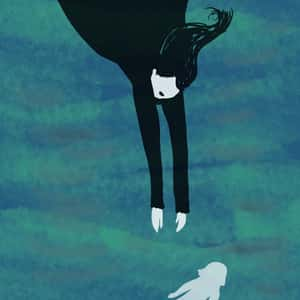 illustration of a woman in a black dress with long black hair swimming down through the water toward a smaller human figure