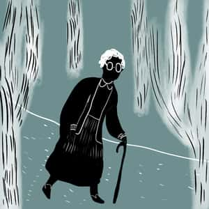 illustration of an older black woman, Phoenix Jackson, walking through a forest on a path