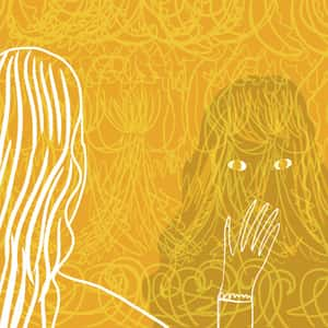 illustration of a woman looking at the complex pattern of the yellow wallpaper and seeing the image of another woman within the pattern