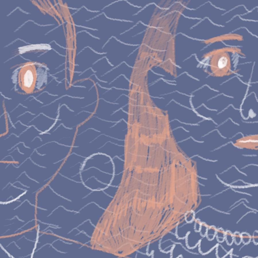 close-up portrait of two faces, masculine and feminine, with ocean waves in the background