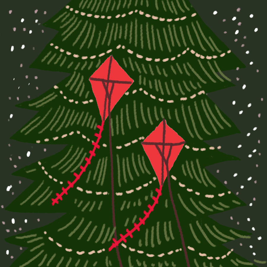 illustration of two red kites hanging upon a Christmas tree