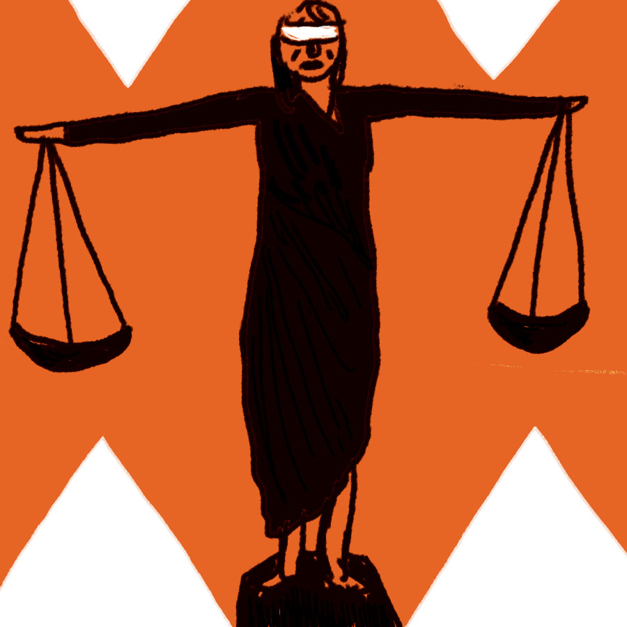 Illustration of a woman with outstretched arms that are holding the scales of justice