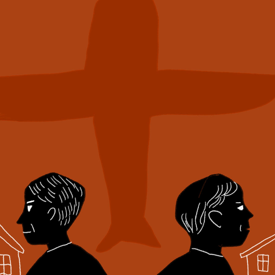 Illustration of the silhouetted profiles of two men facing away from each other, and the shadow of an airplane in the background