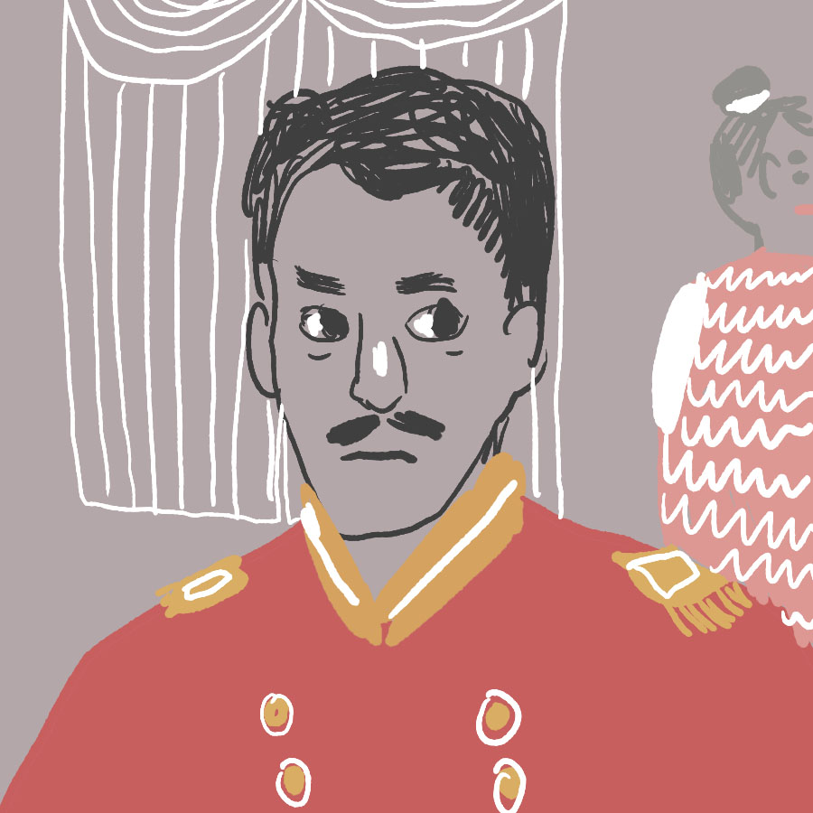 illustration of a man in the military uniform of an office looking askance at a woman in the background