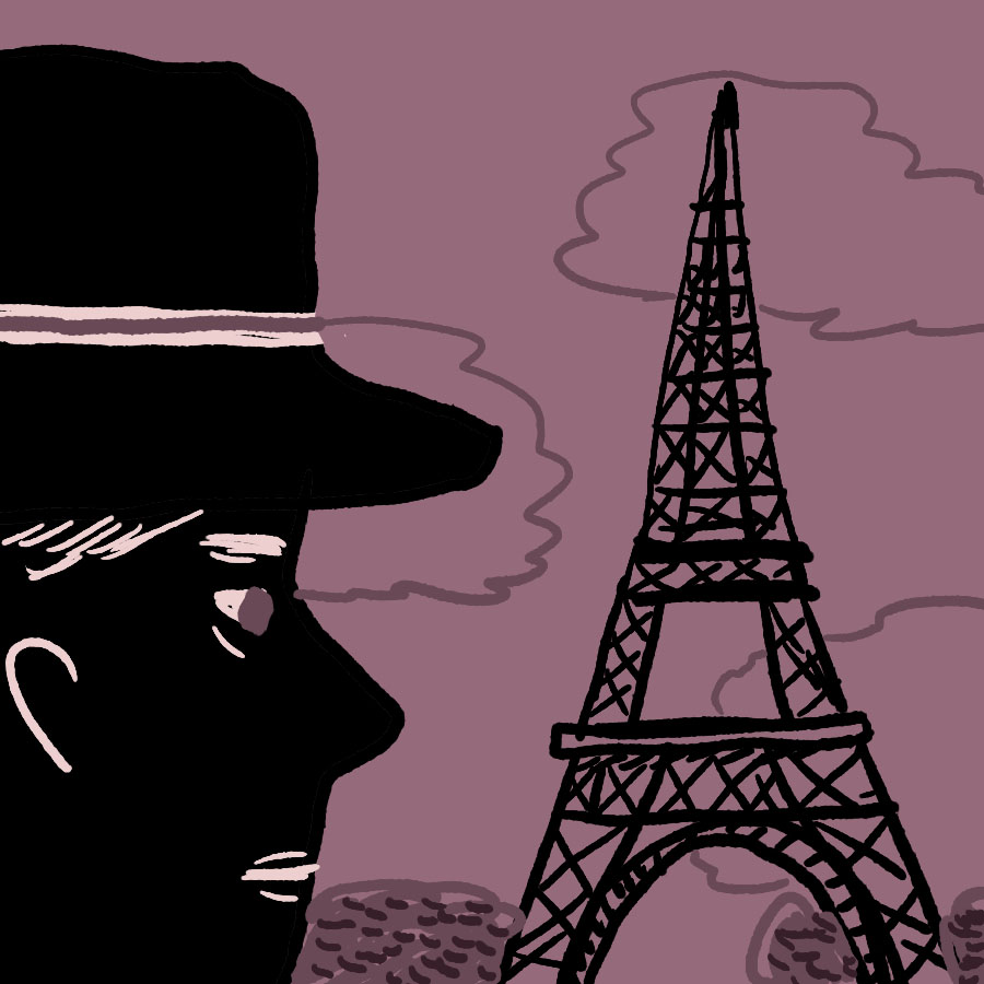 profile of businessman Charlie Wales staring at the Eiffel Tower