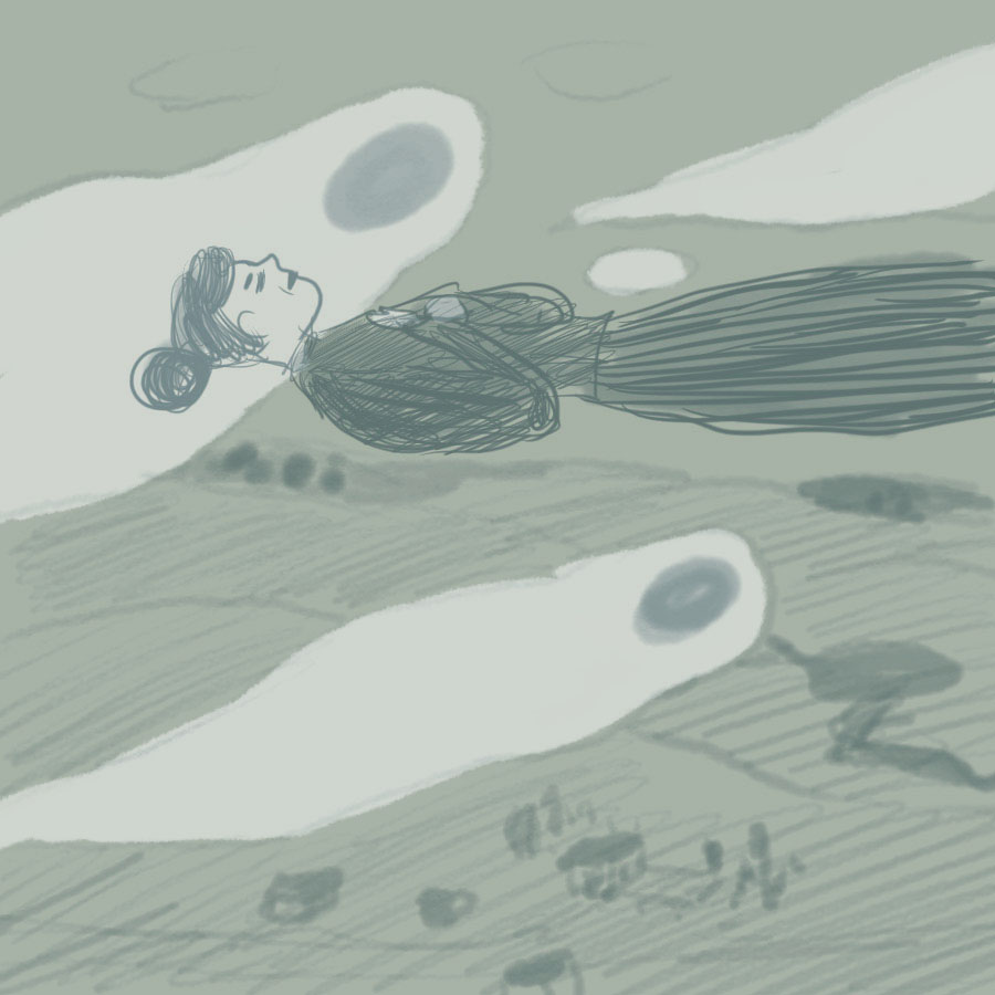 woman in repose floating through the air surrounded by ghosts