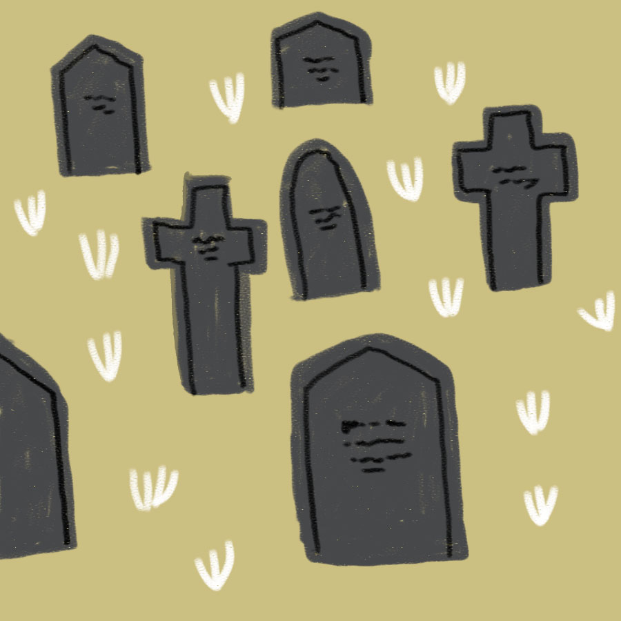 illustration of a country churchyward with a variety of gravestones