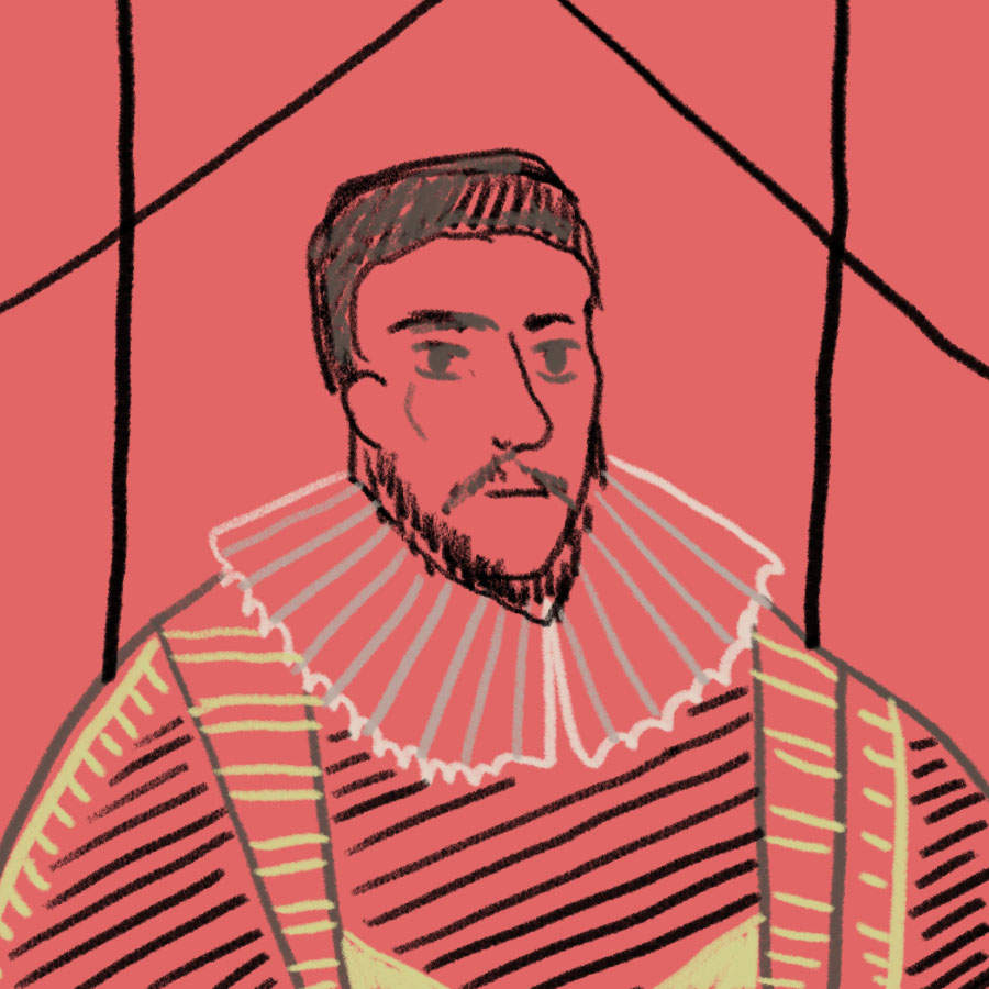 illustrated portrait of Sir Francis Bacon