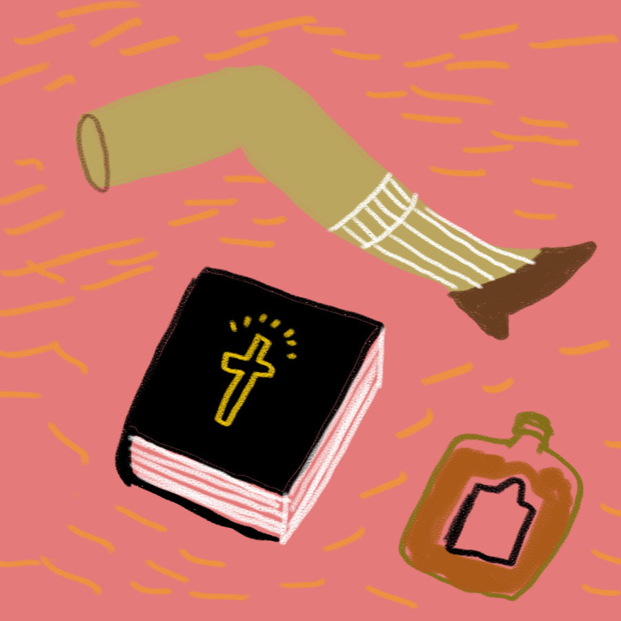 woman's leg with sock and heeled shoe above a bible bound in a black cover next to a bottle of liquor