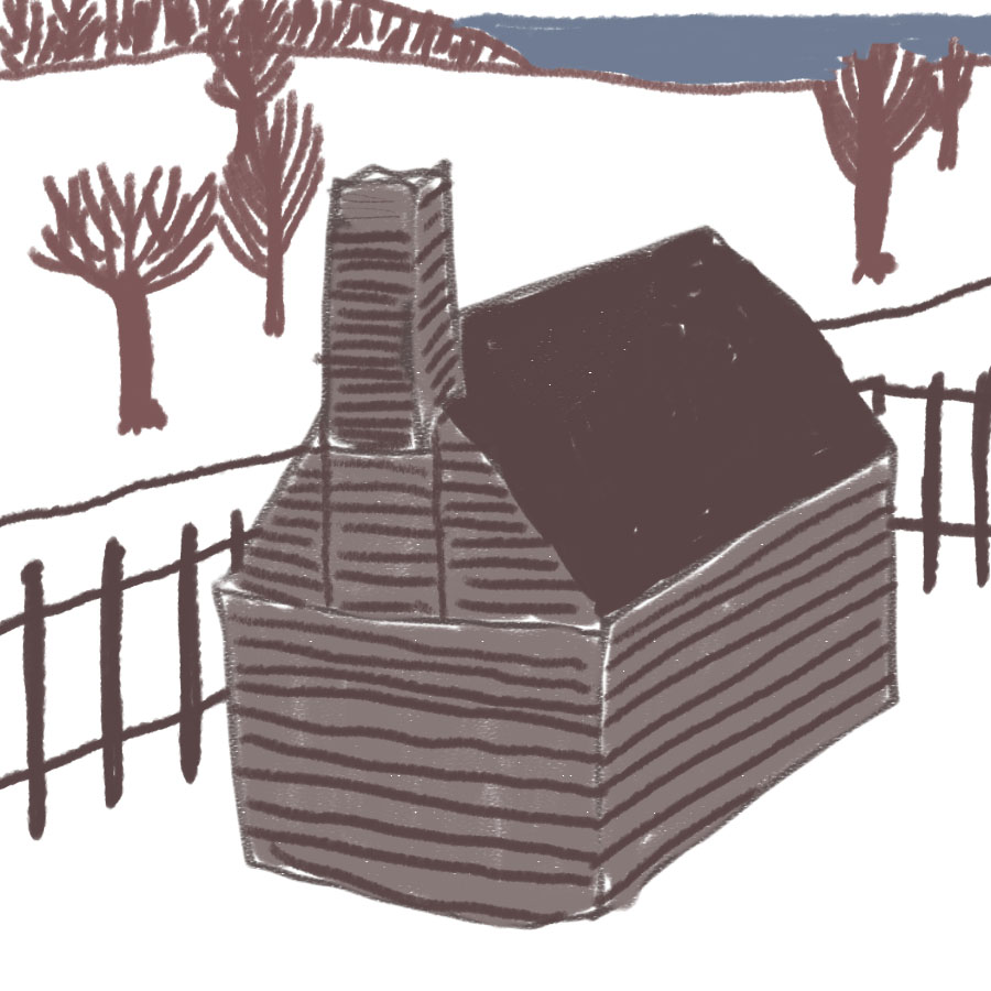 log cabin with chimney surrounded by a fence set in a wintertime scene