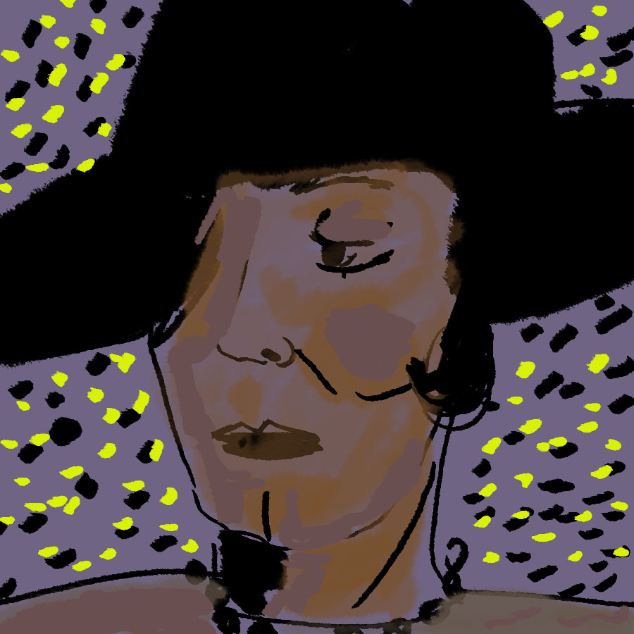 illustrated portrait of African American author Zora Neale Hurston