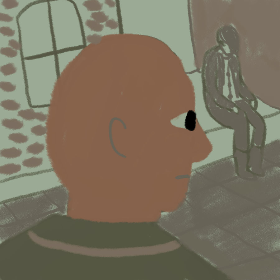 bald man standing on the street looking at another man sitting on a bench