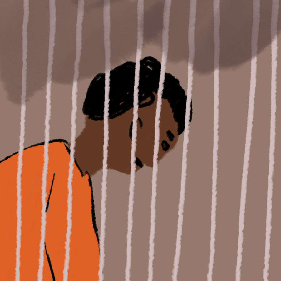 illustration of a black man sitting in an orange jumpsuit behind prison bars