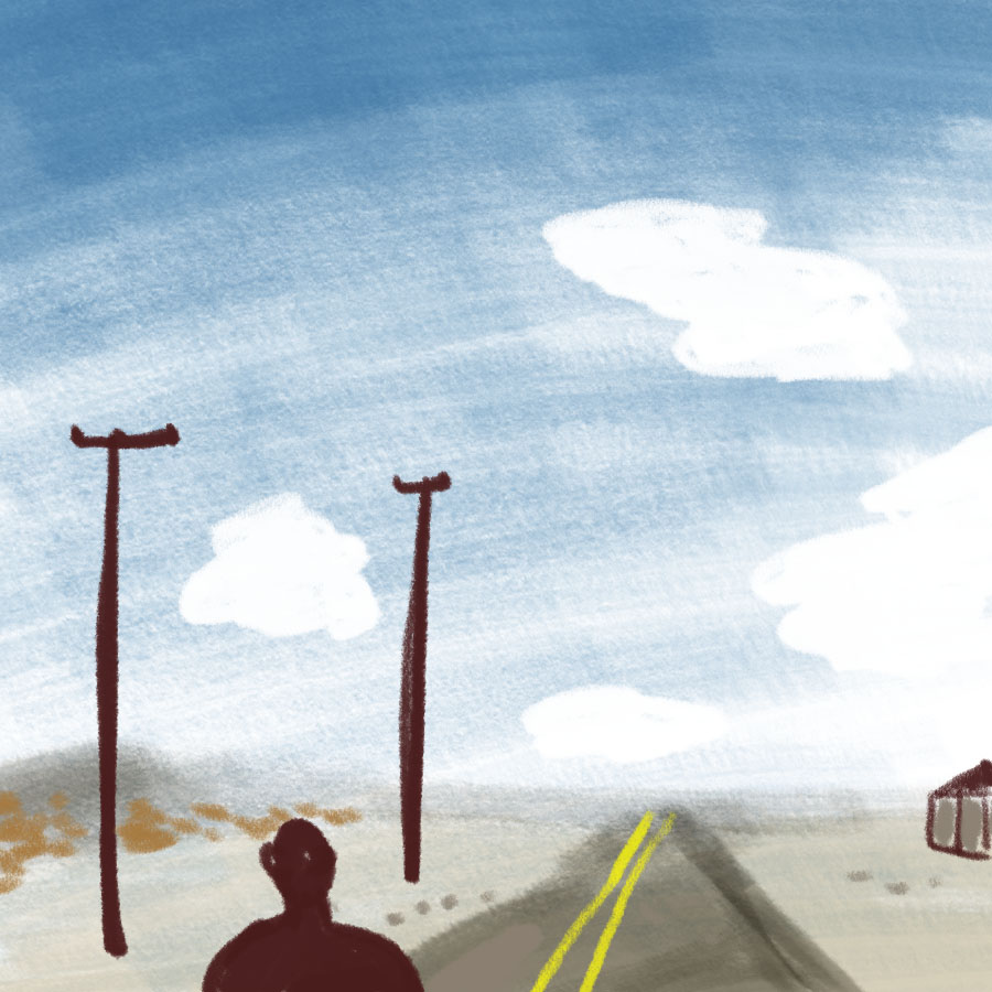 person walking down a highway in the desert under blue sky with power lines and a structure in the distance