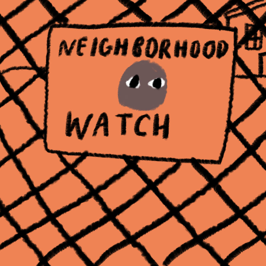 sign on a chainlink fence with the words Neighborhood Watch written upon it