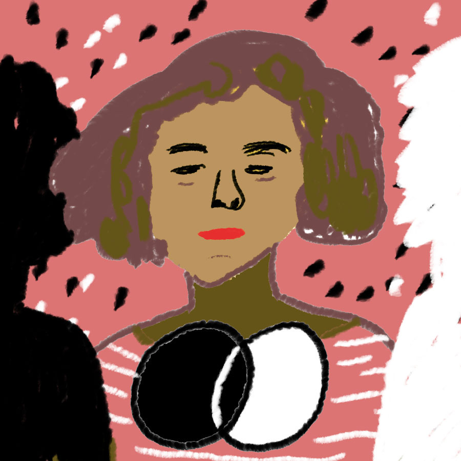 portrait of Passing main character Irene Redfield who has a Venn diagram with white and black circles and is flanked by a white silhouette and a black silhouette