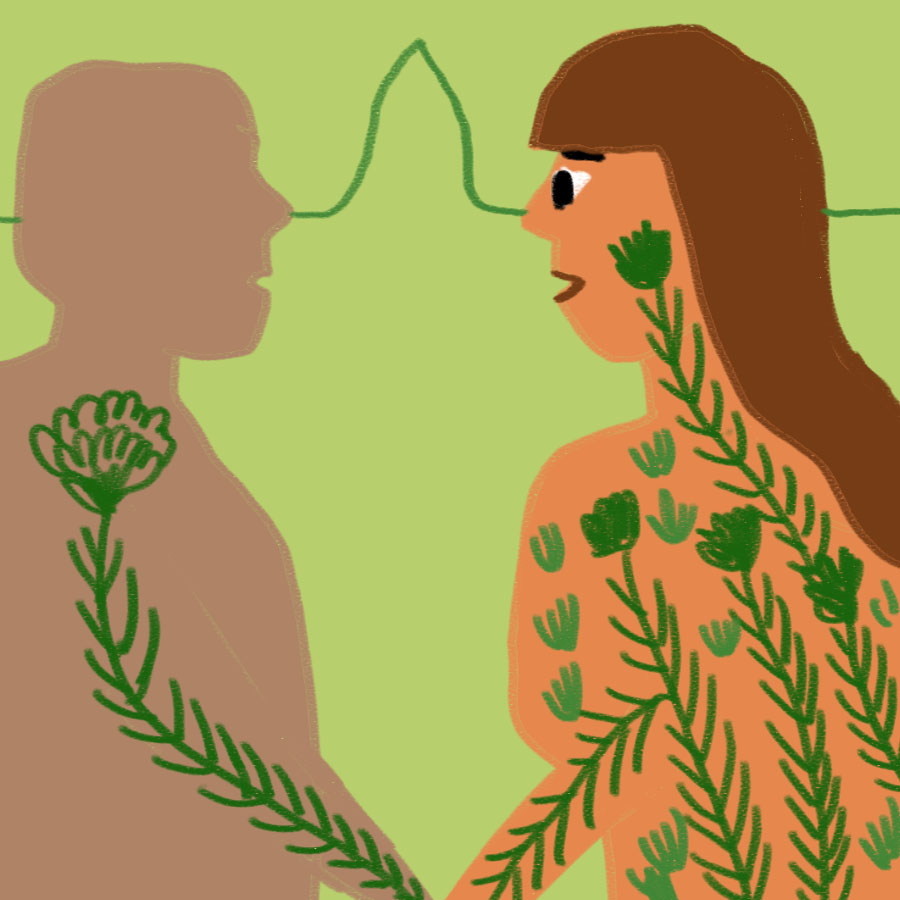 man and woman looking at one another and the woman is filled with plants and vines that are creeping into the man's body