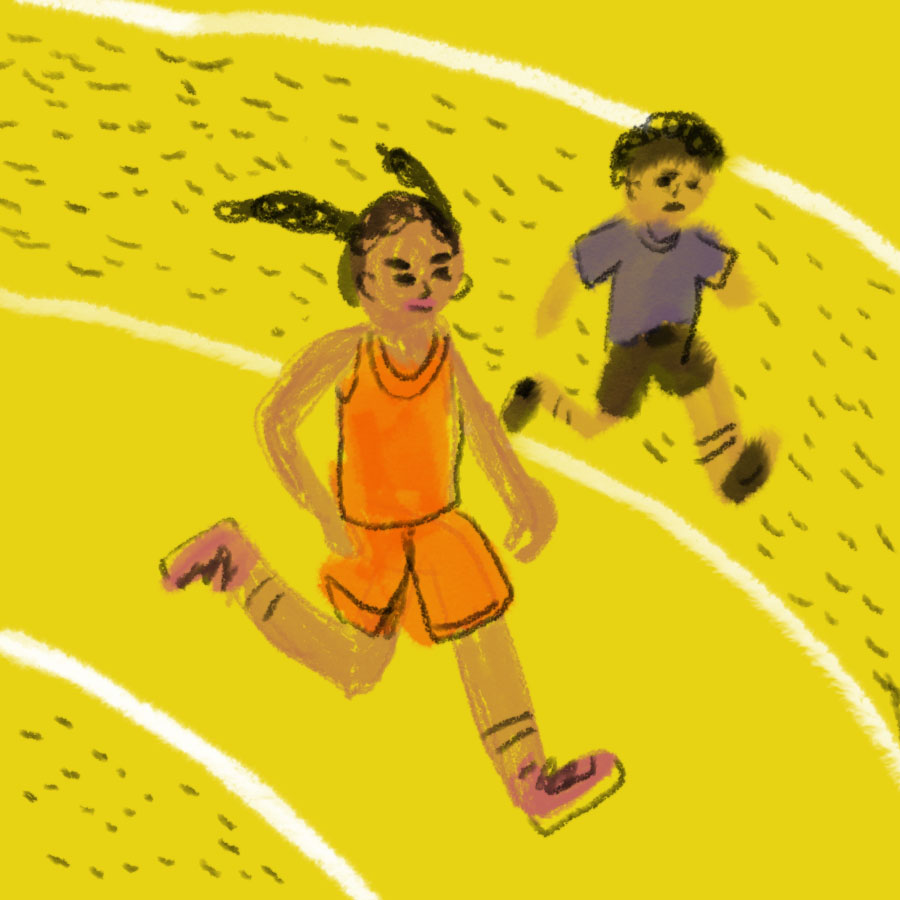 illustration of main character Squeaky running track with her brother, Raymond, running beside her