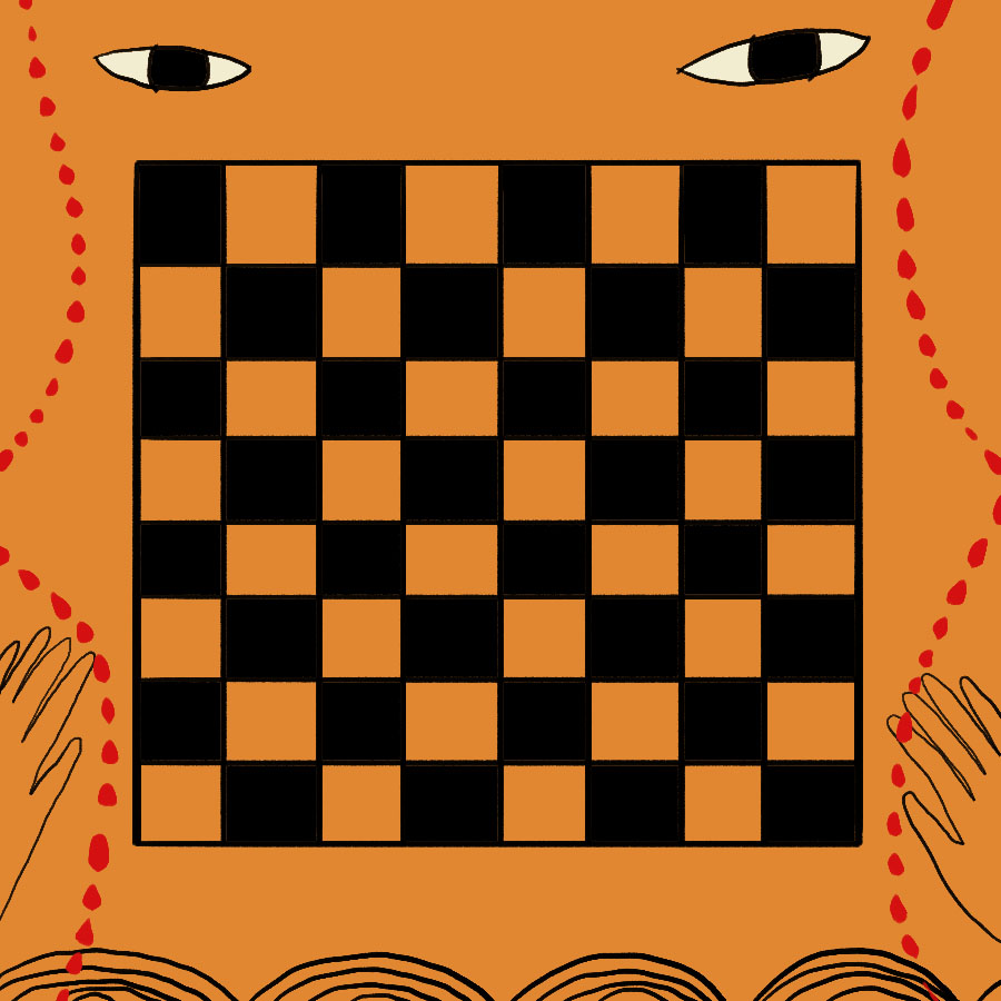 abstract illustration of a chess board with two disembodied eyes above it